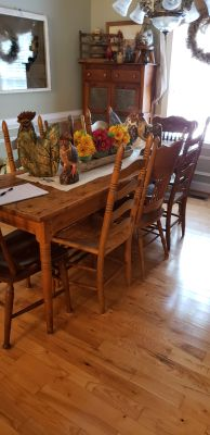 FARMHOUSE TABLE 8 CHAIRS TABLE IS 86L 29 W