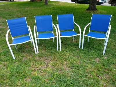 Set of four outdoor patio chairs