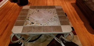 2 Solid Iron End Tables with Matching Coffee Table