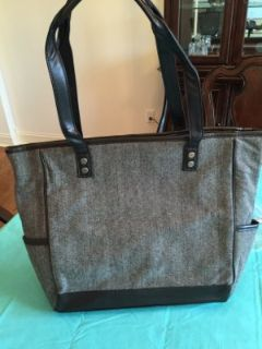 "Thirty-One gifts ""Cindy Tote"" in brown herringbone"
