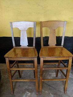 Set of Two Wood Barstools