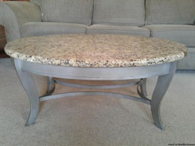 OVAL GRANITE ACCENT COCKTAIL COFFEE TABLE