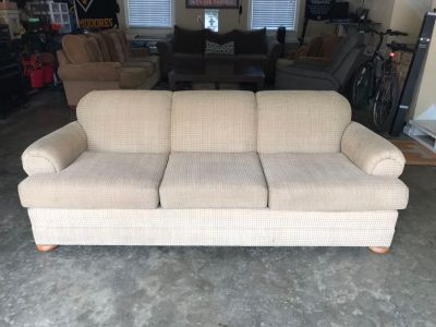 Good Condition Beige Sofa Couch Chair Was Used In The Man Cave Garage