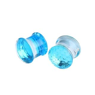 0G Glass Blue Plugs And Tunnels