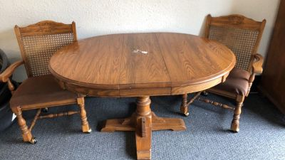 Solid wood table with leaf, 2 chairs