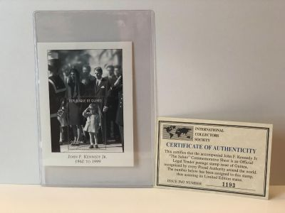 JOHN F. KENNEDY Jr. STAMP PLATE BLOCK- called The Salute is a limited edition print with COA and in MINT condition.