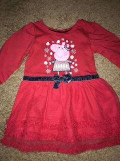 Peppa Pig toddler girl size 2T red dress - winter NEW NWOT