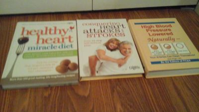 3 Book Set Health Heart Miracle Diet Conquering Heart Attacks & Strokes High Blood Pressure Low...