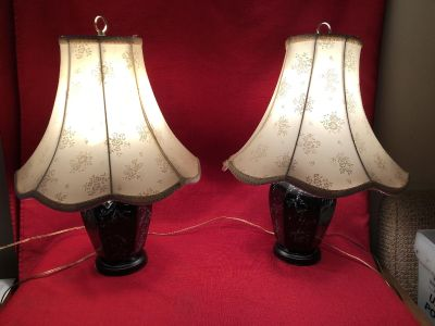 Pair of Really Pretty Lamps. 22 Tall. Shade Slope - 13 . Good Condition