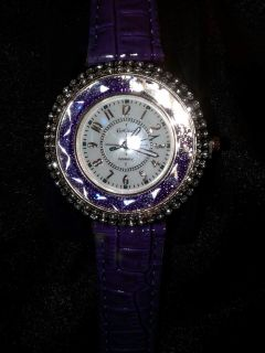 Purple womens watch with cz around rosegold face