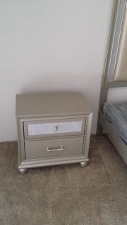 Matching Queen bedroom set bed frame box spring side table and dresser