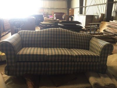 Country Blue and Cream Sofa Bed