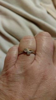Gold diamond double hearted promise ring