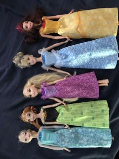 Princess barbies - set of 5