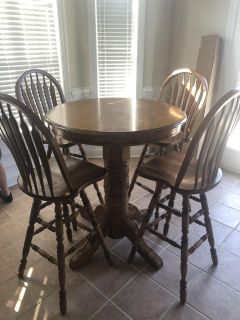 Bar Height Wood Table and Chairs