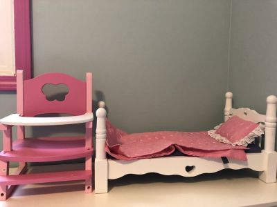 Melissa & Doug Deluxe Wooden Doll Furniture - Bed and High Chair with a Removable Tray.