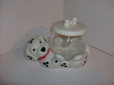 Dalmatian Dog Treat / Cookie Jar Glass Bowl w/ Lid
