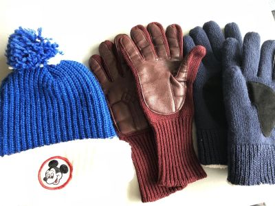 Mickey Mouse Blue and White Hat; Red Gloves; and Blue Gloves-Various Prices (See Description)