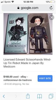 Collectible Edward scissor hands wind up toy with box