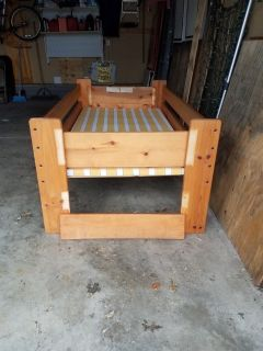 Twin size wooden bed
