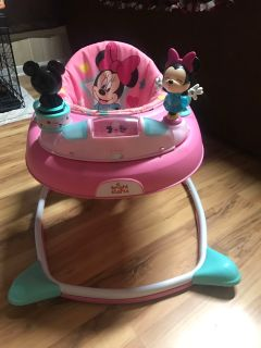 Pink minnie and mickey mouse baby walker, barely used!