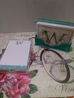 Note cards an desk paper with holder Initial W