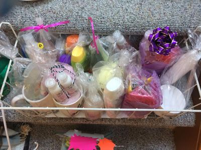 All gift baskets here are 5.00 each stop over row 6 dark blue SUV