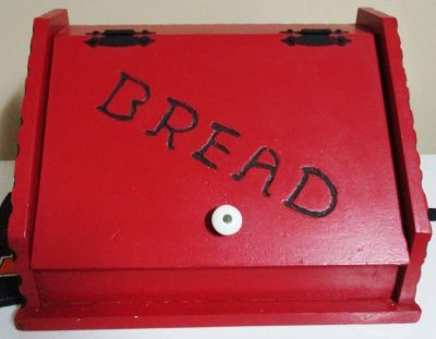 Large Red Hand-painted Bread Box