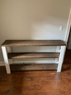 TV stand, 2 end tables, and 3 farmhouse chairs