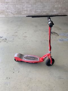 Red electric razor scooter