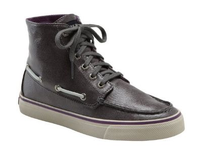 NEW Womens 8 1/2 Sperry Top Sider Graphite Metallic Gray Shimmer High Top Shoes Santa Maria NEW