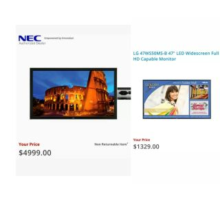 (85% off!! Eager to Sell!) 2 HUGE, *brand-new* NEC and LG Commercial Monitors