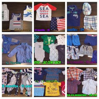 Baby boy 9 to 12 months lot - 62 pieces