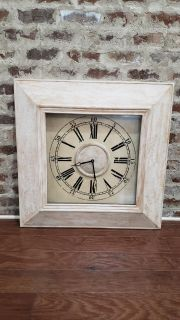 """32"""" Square Wall Clock from Pier One. Cream & Distressed. Has a Pattern in the Wood. Works with 1 AA Battery. Retailed at $179."""