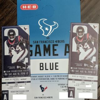 2 Lower Level Tickets for Texans vs 49ers - Includes Blue Lot Parking