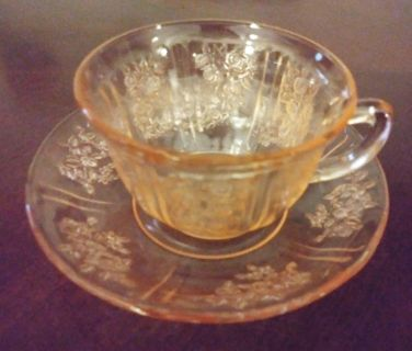 Antique Depression Cups and Saucers