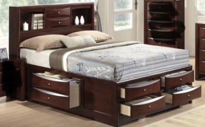 Full sized bedframe with storage drawers and bookshelf