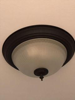 Flush Mount Ceiling Light - Black Metal Base & Frosted Glass with Diamond & Line Design: 13 Diameter - PRICED INDIVIDUALLY