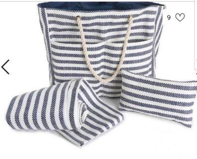 DSW beach tote, pillow, and mat