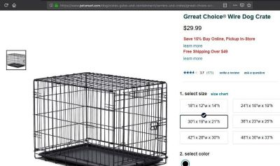 30 Inch Wire Dog Cage Black, Like NEW