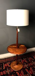 Vintage Walnut Floor Lamp with Table by Laurel