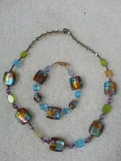 Necklace and Bracelet - Beautiful glass beads in excellent condition