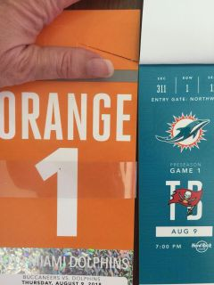 2 - Miami Dolphins vs Tampa Buccaneers Tickets with Orange Parking Pass.