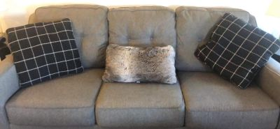 6ft gray fabric couch