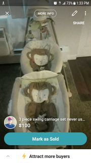 3 piece swing carriage set for baby. Never used