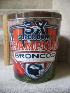 NFL Denver Broncos Super Bowl 3X champions 3-gallon tin