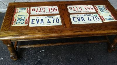 Man Cave Automotive Guy Coffee Table w/ Vintage Auto License Plates