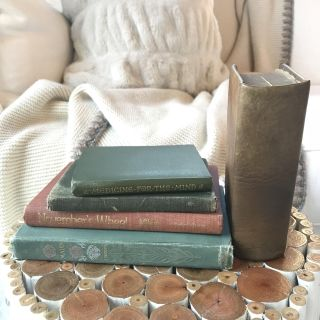 Collection Of Vintage Books. Decorative Floral & Leather