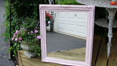large shabby chic pink french mirror