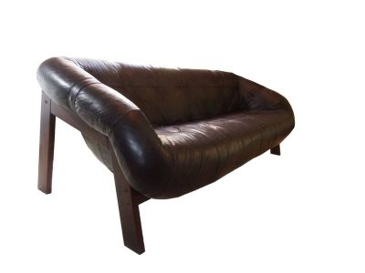 MCM Brazilian Rosewood Leather Sofa - Lafer style